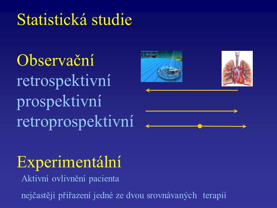 Statistická studie Observační retrospektivní prospektivní retroprospektivní Experimentální Aktivní ovlivnění pacienta nejčastěji přiřazení jedné ze dvou srovnávaných terapií