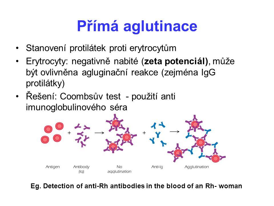 Přímá aglutinace Stanovení protilátek proti erytrocytům Erytrocyty: negativně nabité (zeta potenciál), může být ovlivněna agluginační reakce (zejména