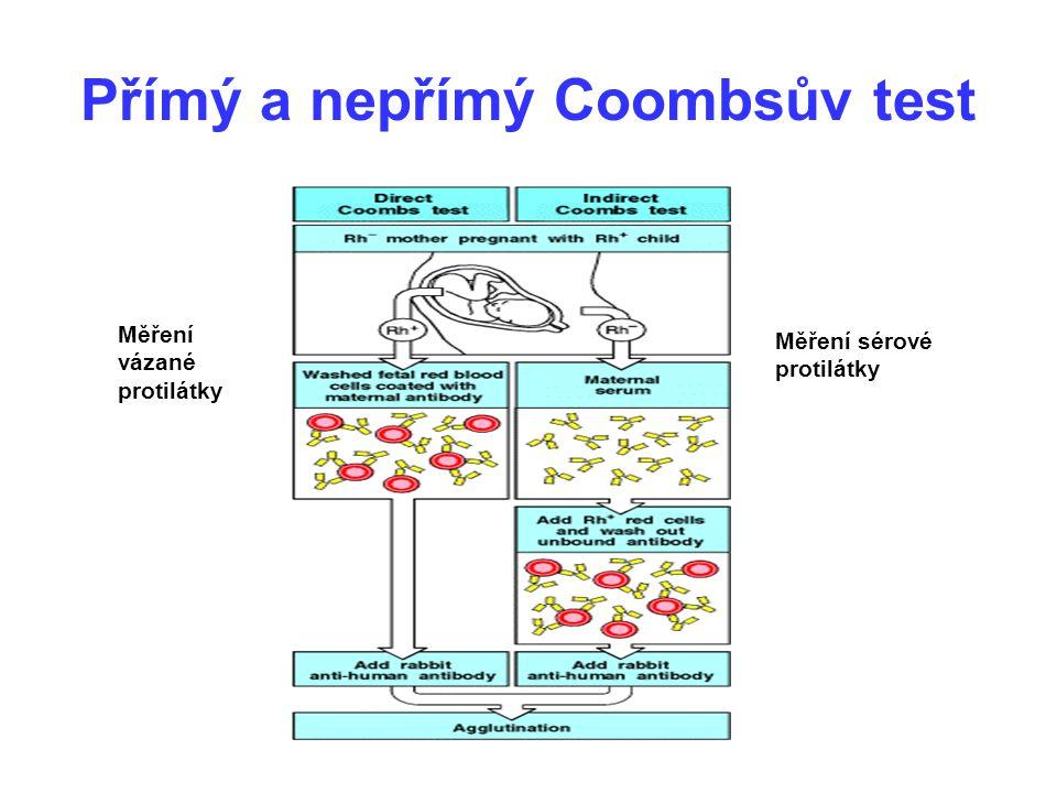 Přímý a nepřímý Coombsův test Měření vázané protilátky Měření sérové protilátky
