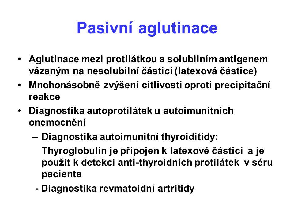 Pasivní aglutinace Aglutinace mezi protilátkou a solubilním antigenem vázaným na nesolubilní částici (latexová částice) Mnohonásobně zvýšení citlivost