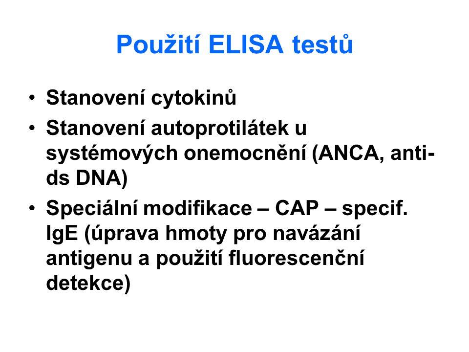 Použití ELISA testů Stanovení cytokinů Stanovení autoprotilátek u systémových onemocnění (ANCA, anti- ds DNA) Speciální modifikace – CAP – specif. IgE