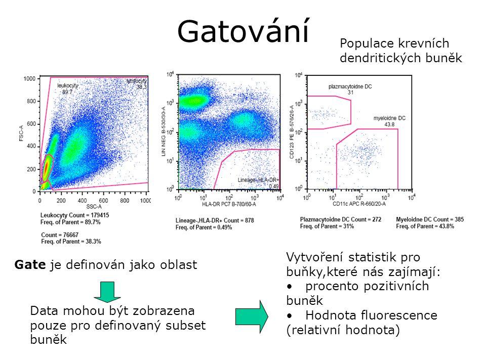 Gatování Gate je definován jako oblast Data mohou být zobrazena pouze pro definovaný subset buněk Vytvoření statistik pro buňky,které nás zajímají: procento pozitivních buněk Hodnota fluorescence (relativní hodnota) Populace krevních dendritických buněk