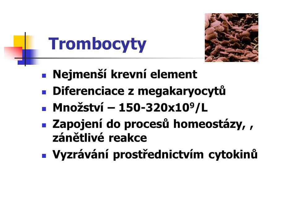 Trombocyty Nejmenší krevní element Diferenciace z megakaryocytů Množství – 150-320x10 9 /L Zapojení do procesů homeostázy,, zánětlivé reakce Vyzrávání