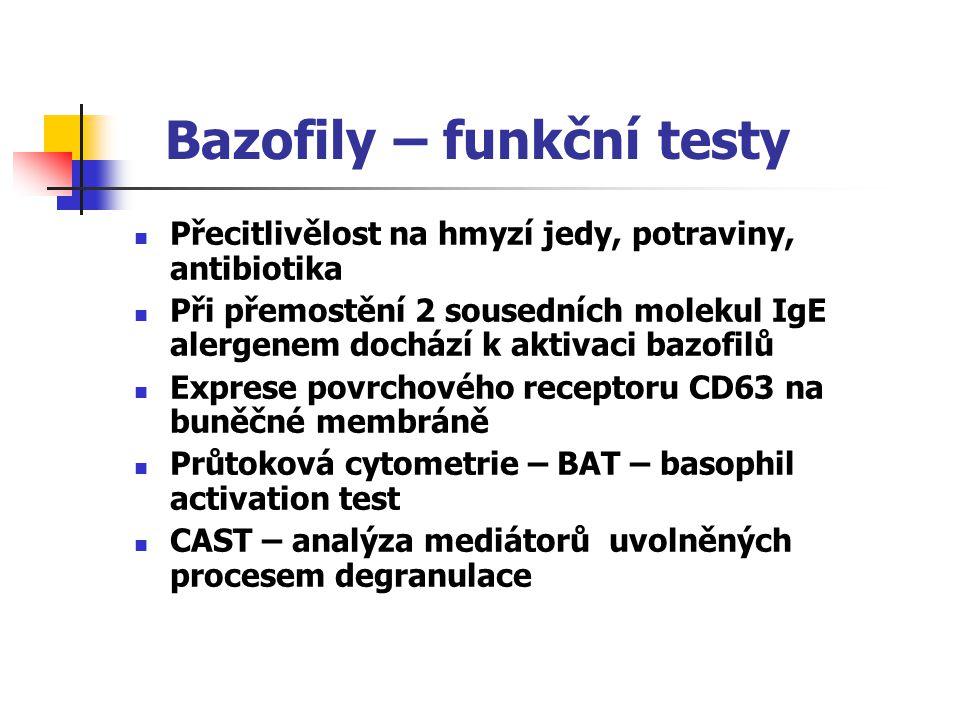 Bazofily – funkční testy Přecitlivělost na hmyzí jedy, potraviny, antibiotika Při přemostění 2 sousedních molekul IgE alergenem dochází k aktivaci baz