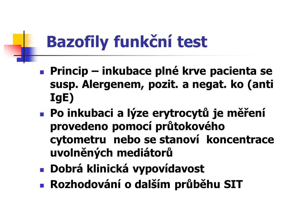 Bazofily funkční test Princip – inkubace plné krve pacienta se susp. Alergenem, pozit. a negat. ko (anti IgE) Po inkubaci a lýze erytrocytů je měření