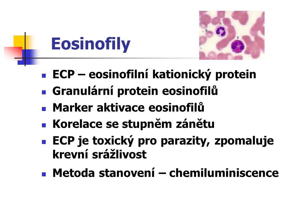 Eosinofily ECP – eosinofilní kationický protein Granulární protein eosinofilů Marker aktivace eosinofilů Korelace se stupněm zánětu ECP je toxický pro