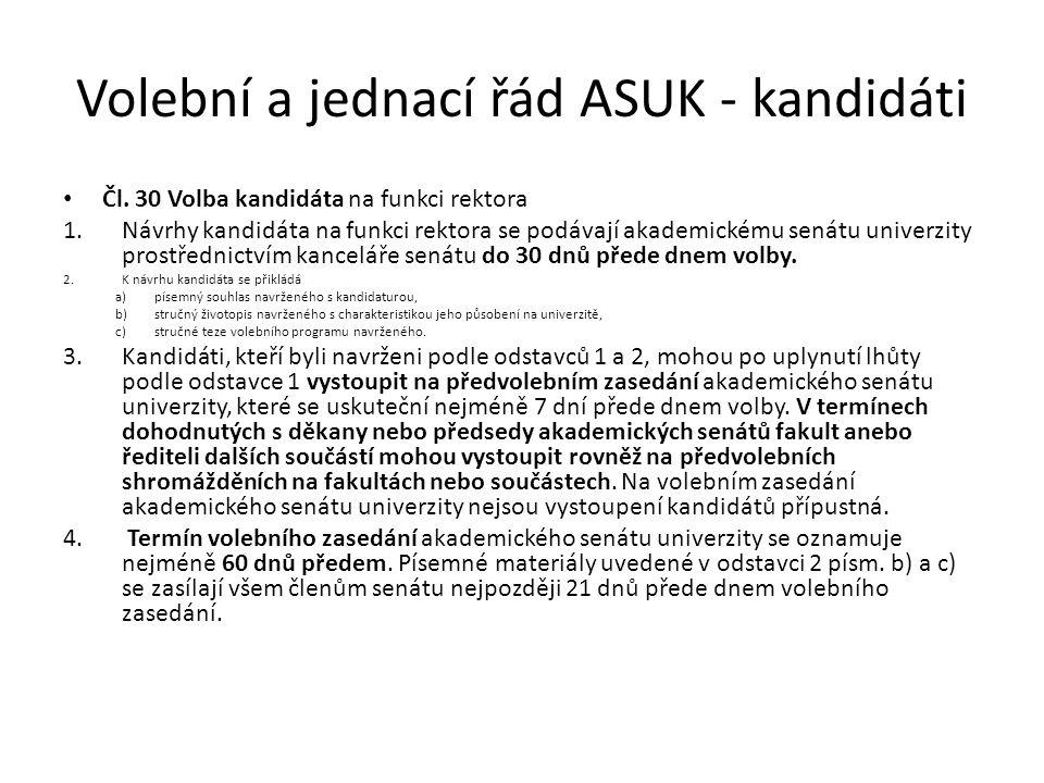 Volební a jednací řád ASUK - kandidáti Čl.