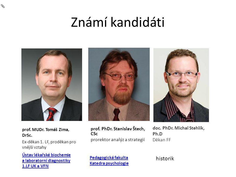 Známí kandidáti prof. PhDr. Stanislav Štech, CSc prorektor analýz a strategií prof.