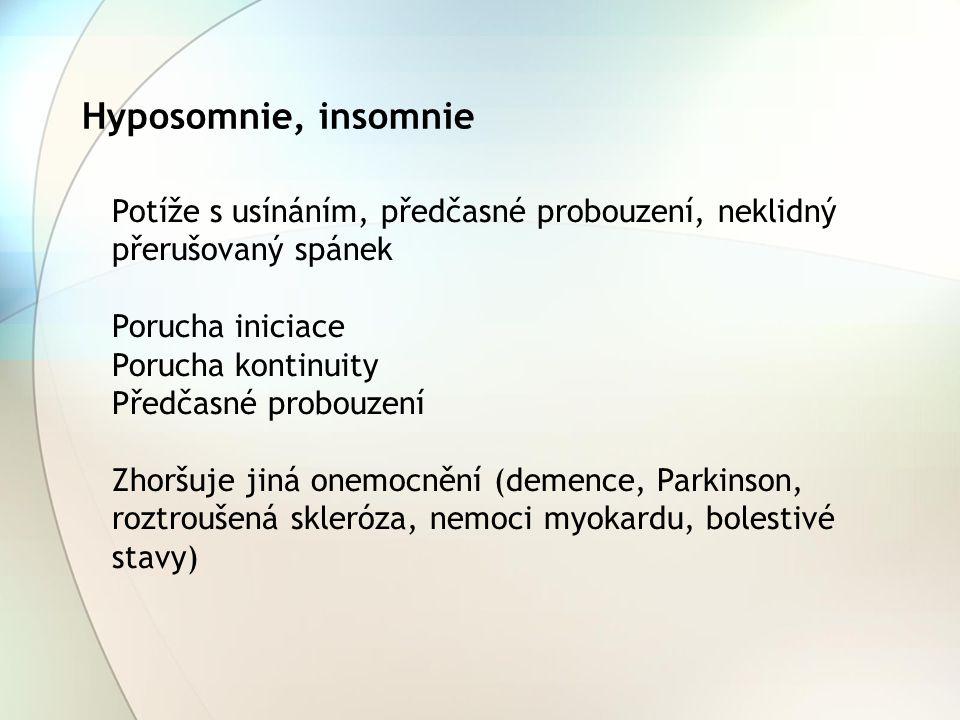 Hyposomnie, insomnie Potíže s usínáním, předčasné probouzení, neklidný přerušovaný spánek Porucha iniciace Porucha kontinuity Předčasné probouzení Zho