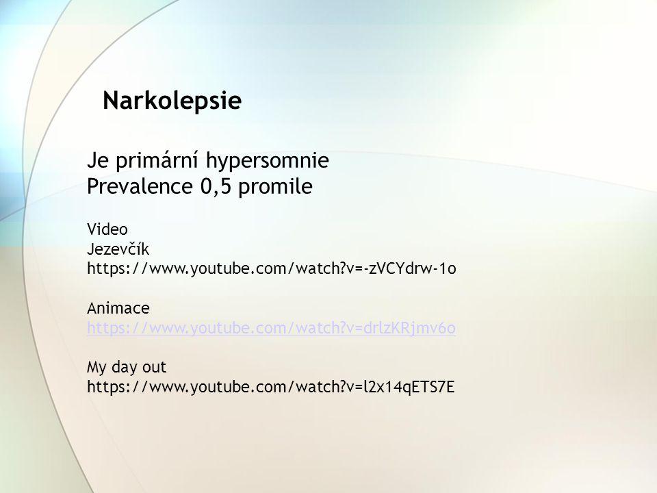 Narkolepsie Je primární hypersomnie Prevalence 0,5 promile Video Jezevčík https://www.youtube.com/watch?v=-zVCYdrw-1o Animace https://www.youtube.com/