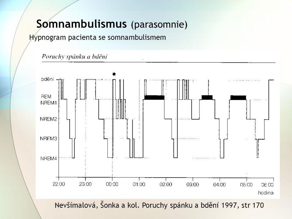 Somnambulismus (parasomnie) Hypnogram pacienta se somnambulismem Nevšímalová, Šonka a kol. Poruchy spánku a bdění 1997, str 170