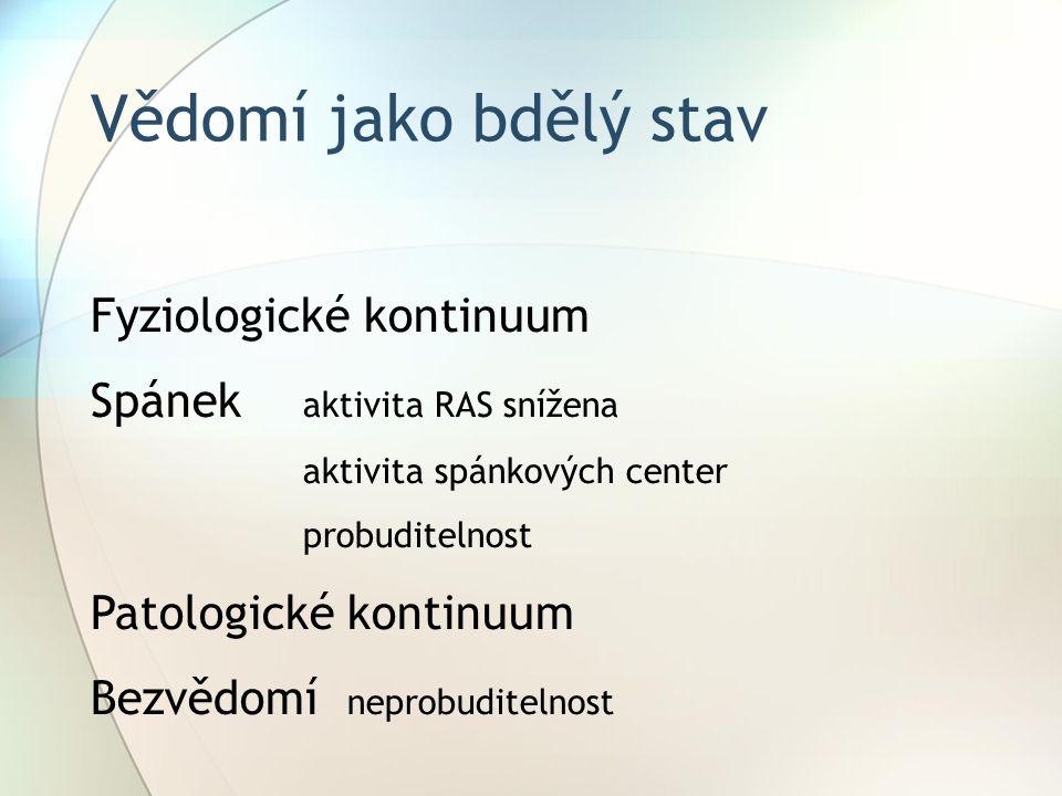 Neurotransm iter Lokalizace v RFFunkceManifestace poruchy AcetylcholinRF pontu a mesencefala Klidné bděníKoma (narkóza) DopaminSubstantia nigra (ale i difuzně) Aktivní bdění Parkinsonův syndrom, poruchy rozhodování SerotoninNcl.rhapheNon REM spánek Totální nespavost, psychotický syndrom NoradrenalinLocus coeruleusREM spánekSelektivní deprivace REM spánku Neurotransmiterové systémy retikulární formace