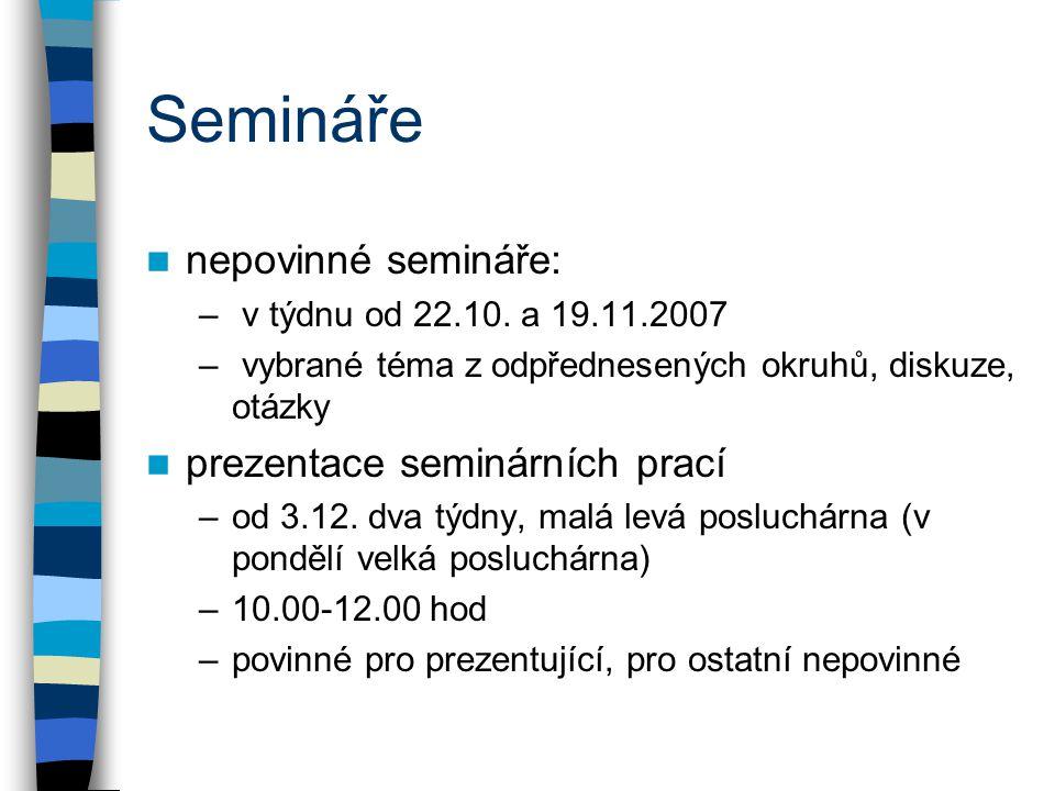Semináře nepovinné semináře: – v týdnu od 22.10. a 19.11.2007 – vybrané téma z odpřednesených okruhů, diskuze, otázky prezentace seminárních prací –od