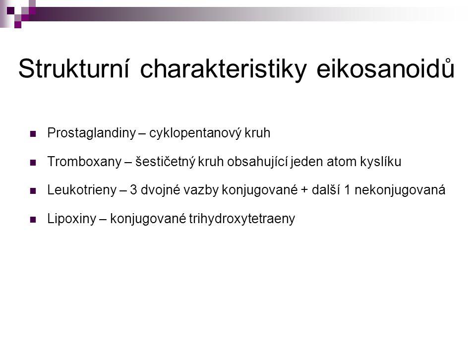 Strukturní charakteristiky eikosanoidů Prostaglandiny – cyklopentanový kruh Tromboxany – šestičetný kruh obsahující jeden atom kyslíku Leukotrieny – 3