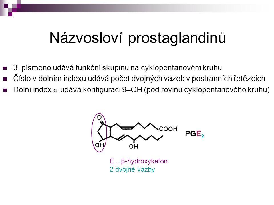 Názvosloví prostaglandinů 3. písmeno udává funkční skupinu na cyklopentanovém kruhu Číslo v dolním indexu udává počet dvojných vazeb v postranních řet