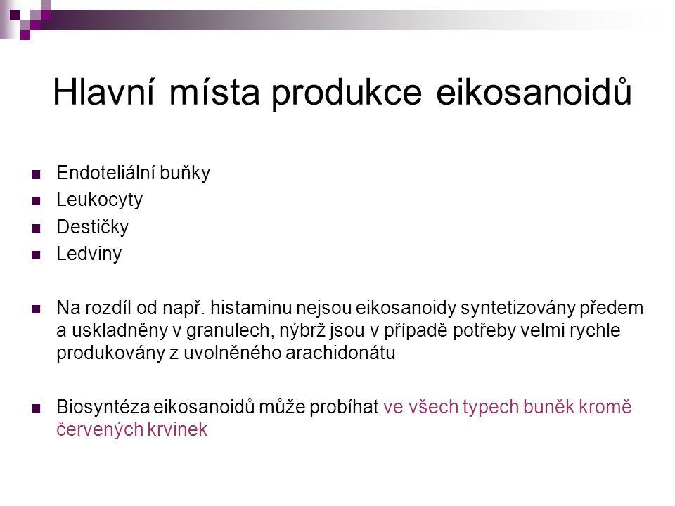 Hlavní místa produkce eikosanoidů Endoteliální buňky Leukocyty Destičky Ledviny Na rozdíl od např. histaminu nejsou eikosanoidy syntetizovány předem a