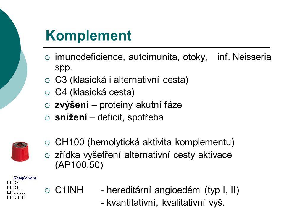 Komplement  imunodeficience, autoimunita, otoky, inf. Neisseria spp.  C3 (klasická i alternativní cesta)  C4 (klasická cesta)  zvýšení – proteiny