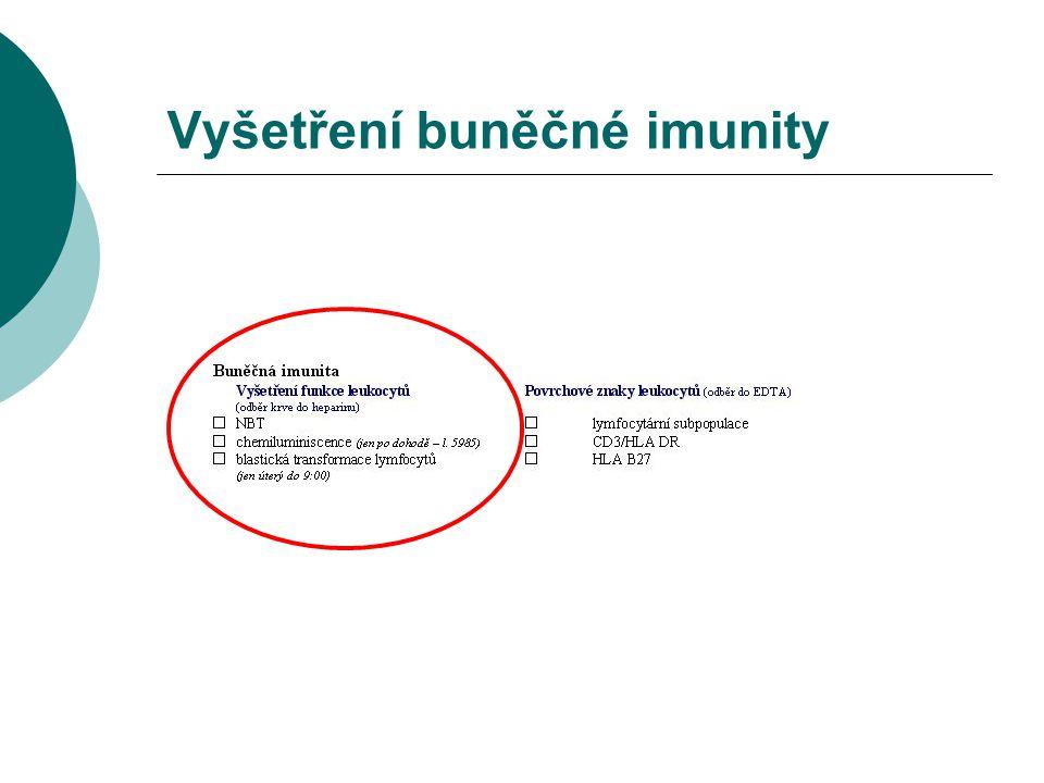 Blastická transformace lymfocytů  proliferace lymfocytů (blastická transformace)  stimulace mitogenem (antigenem)  PHA, PWM, ConA, PPD, tetanus...