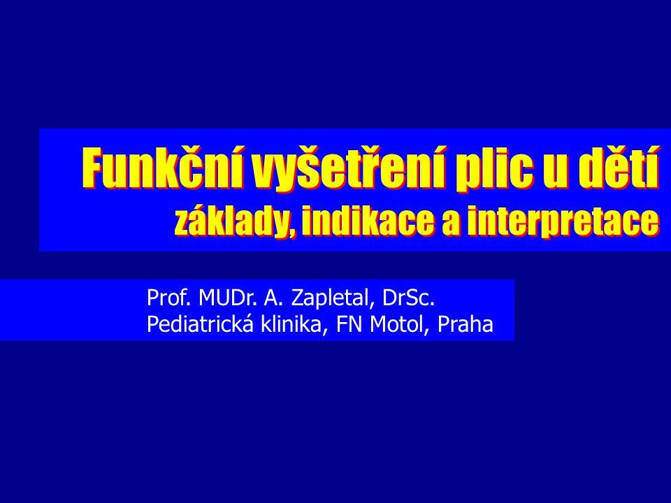 Funkční vyšetření plic u dětí základy, indikace a interpretace Funkční vyšetření plic u dětí základy, indikace a interpretace Prof. MUDr. A. Zapletal,
