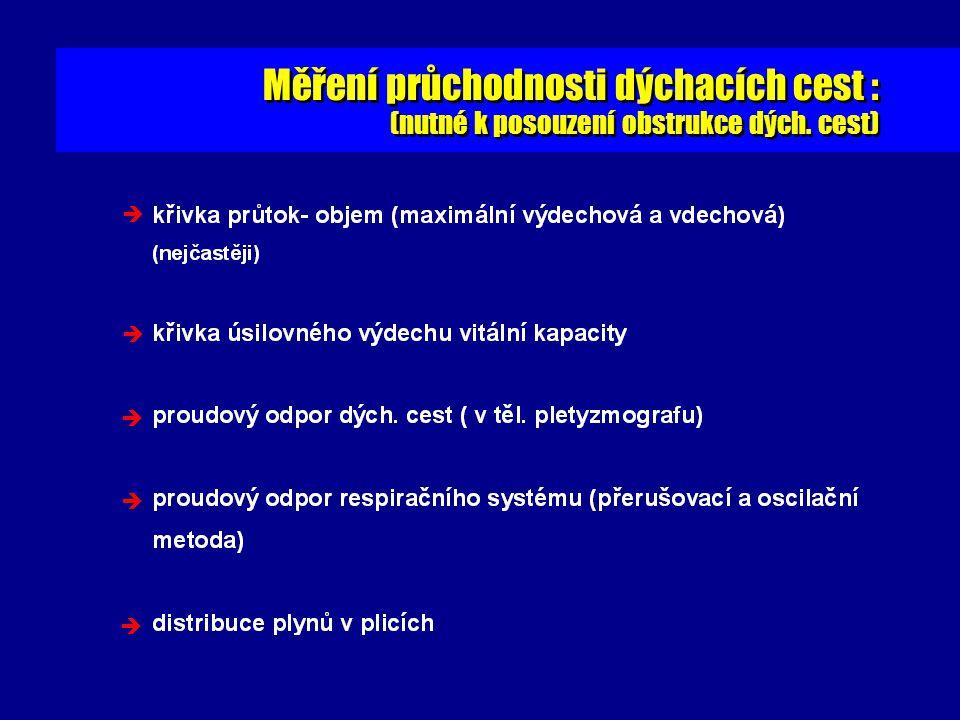 Měření průchodnosti dýchacích cest : (nutné k posouzení obstrukce dých. cest) Měření průchodnosti dýchacích cest : (nutné k posouzení obstrukce dých.