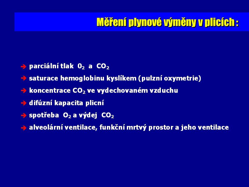 Měření plynové výměny v plicích :      