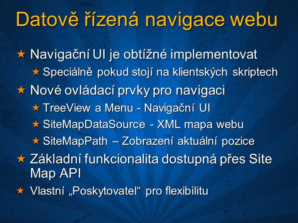 """Datově řízená navigace webu  Navigační UI je obtížné implementovat  Speciálně pokud stojí na klientských skriptech  Nové ovládací prvky pro navigaci  TreeView a Menu - Navigační UI  SiteMapDataSource - XML mapa webu  SiteMapPath – Zobrazení aktuální pozice  Základní funkcionalita dostupná přes Site Map API  Vlastní """"Poskytovatel pro flexibilitu"""