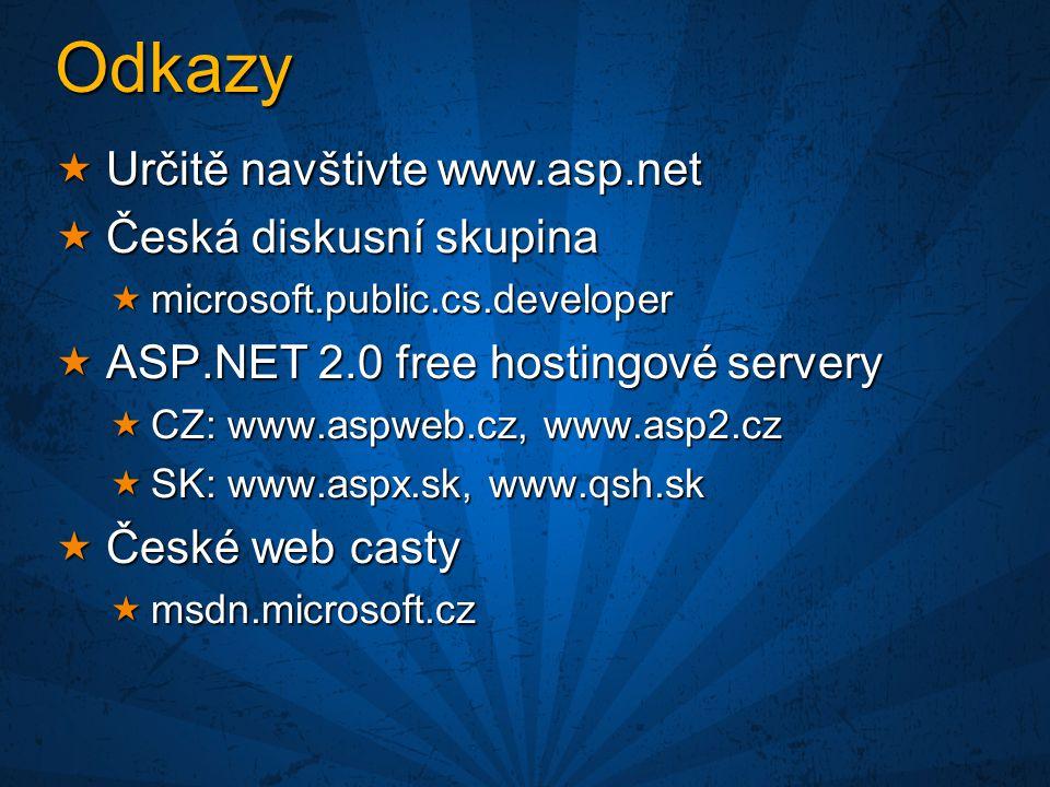 Odkazy  Určitě navštivte www.asp.net  Česká diskusní skupina  microsoft.public.cs.developer  ASP.NET 2.0 free hostingové servery  CZ: www.aspweb.cz, www.asp2.cz  SK: www.aspx.sk, www.qsh.sk  České web casty  msdn.microsoft.cz
