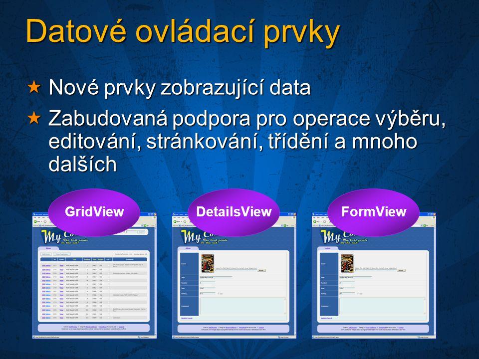 Datové ovládací prvky  Nové prvky zobrazující data  Zabudovaná podpora pro operace výběru, editování, stránkování, třídění a mnoho dalších GridViewDetailsViewFormView