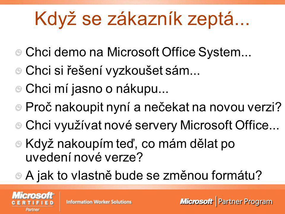 Když se zákazník zeptá... Chci demo na Microsoft Office System... Chci si řešení vyzkoušet sám... Chci mí jasno o nákupu... Proč nakoupit nyní a neček