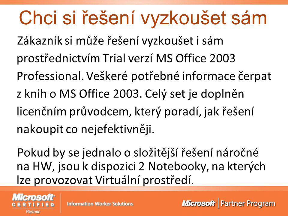 Chci si řešení vyzkoušet sám Zákazník si může řešení vyzkoušet i sám prostřednictvím Trial verzí MS Office 2003 Professional. Veškeré potřebné informa