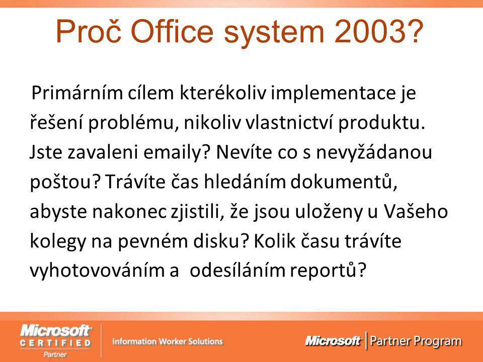 Proč Office system 2003? Primárním cílem kterékoliv implementace je řešení problému, nikoliv vlastnictví produktu. Jste zavaleni emaily? Nevíte co s n