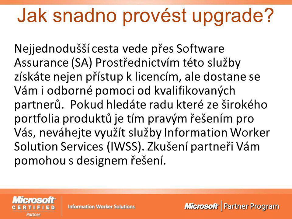 Jak snadno provést upgrade? Nejjednodušší cesta vede přes Software Assurance (SA) Prostřednictvím této služby získáte nejen přístup k licencím, ale do