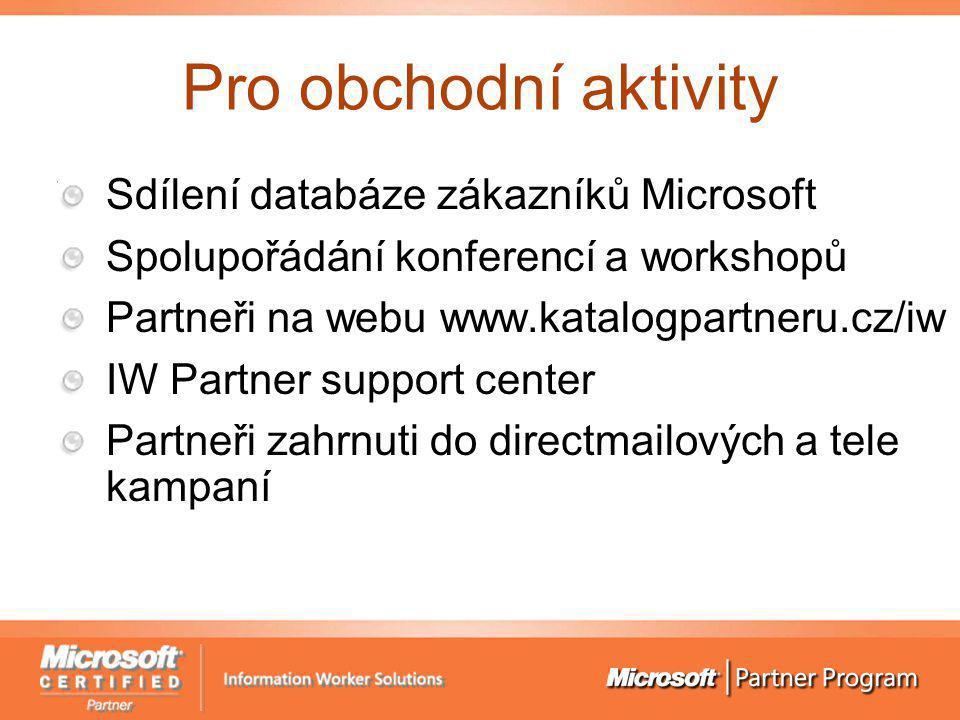 Pro obchodní aktivity Sdílení databáze zákazníků Microsoft Spolupořádání konferencí a workshopů Partneři na webu www.katalogpartneru.cz/iw IW Partner