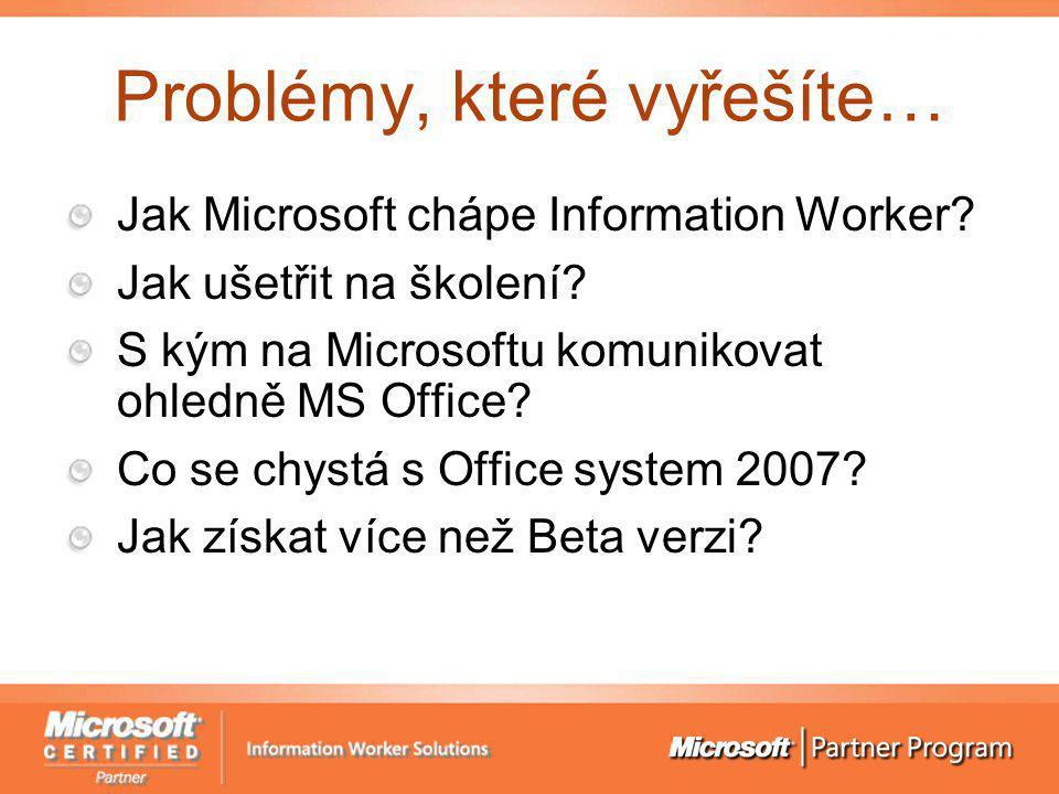 Problémy, které vyřešíte… Jak Microsoft chápe Information Worker? Jak ušetřit na školení? S kým na Microsoftu komunikovat ohledně MS Office? Co se chy