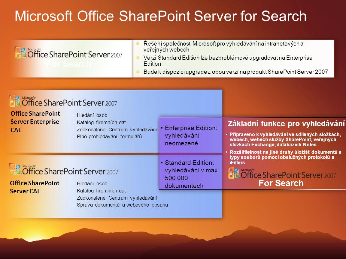 Microsoft Office SharePoint Server for Search Řešení společnosti Microsoft pro vyhledávání na intranetových a veřejných webech Verzi Standard Edition
