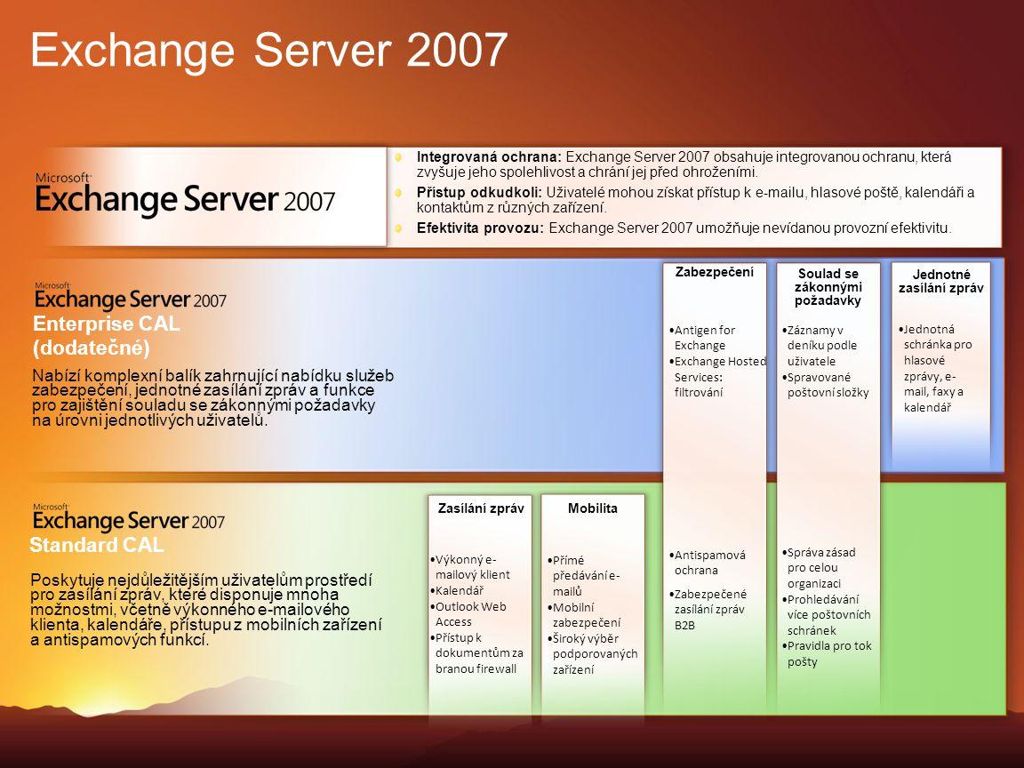 Exchange Server 2007 Integrovaná ochrana: Exchange Server 2007 obsahuje integrovanou ochranu, která zvyšuje jeho spolehlivost a chrání jej před ohrože