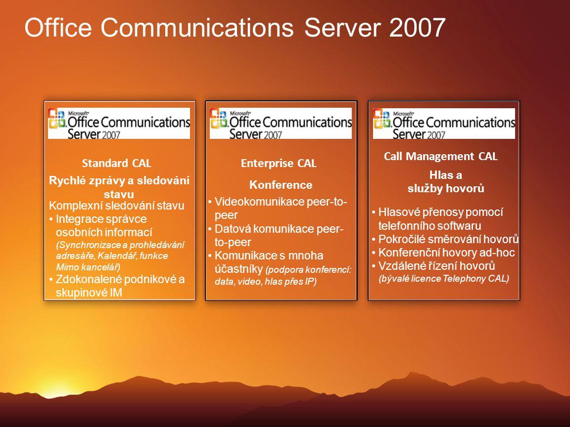 Standard CAL Rychlé zprávy a sledování stavu Hlasové přenosy pomocí telefonního softwaru Pokročilé směrování hovorů Konferenční hovory ad-hoc Vzdálené