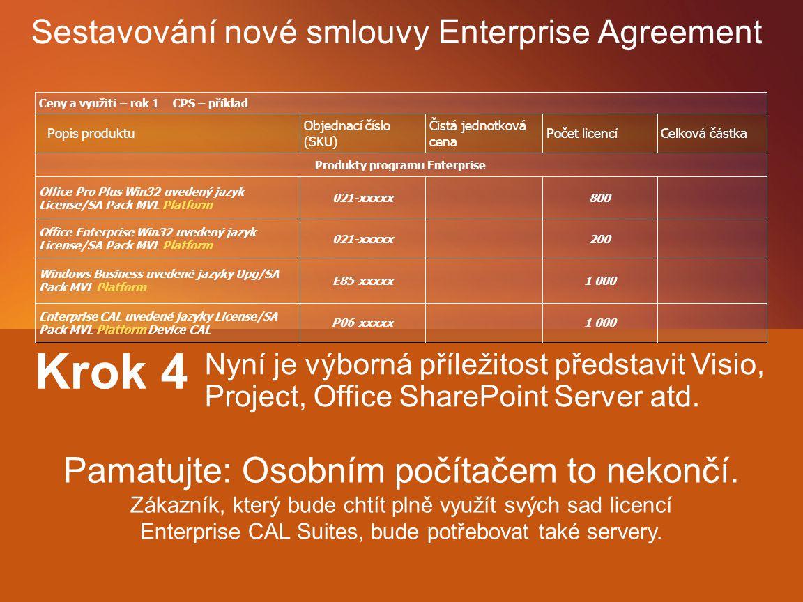 Krok 3 1 000 Enterprise CAL Suite Přeje si zákazník zahrnout nějaké další produkty? 800 Office Pro Plus 200 Office Enterpris e Krok 1 1 000 Windows En