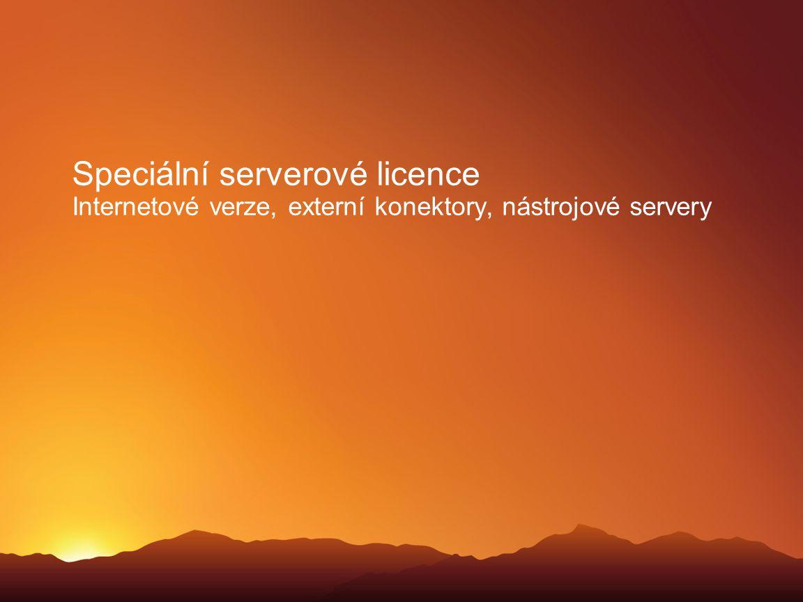 Speciální serverové licence Internetové verze, externí konektory, nástrojové servery
