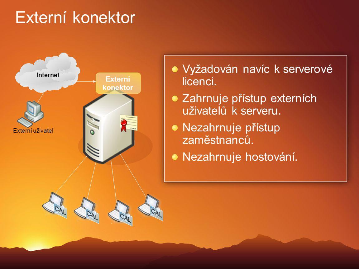 Externí konektor Vyžadován navíc k serverové licenci. Zahrnuje přístup externích uživatelů k serveru. Nezahrnuje přístup zaměstnanců. Nezahrnuje hosto