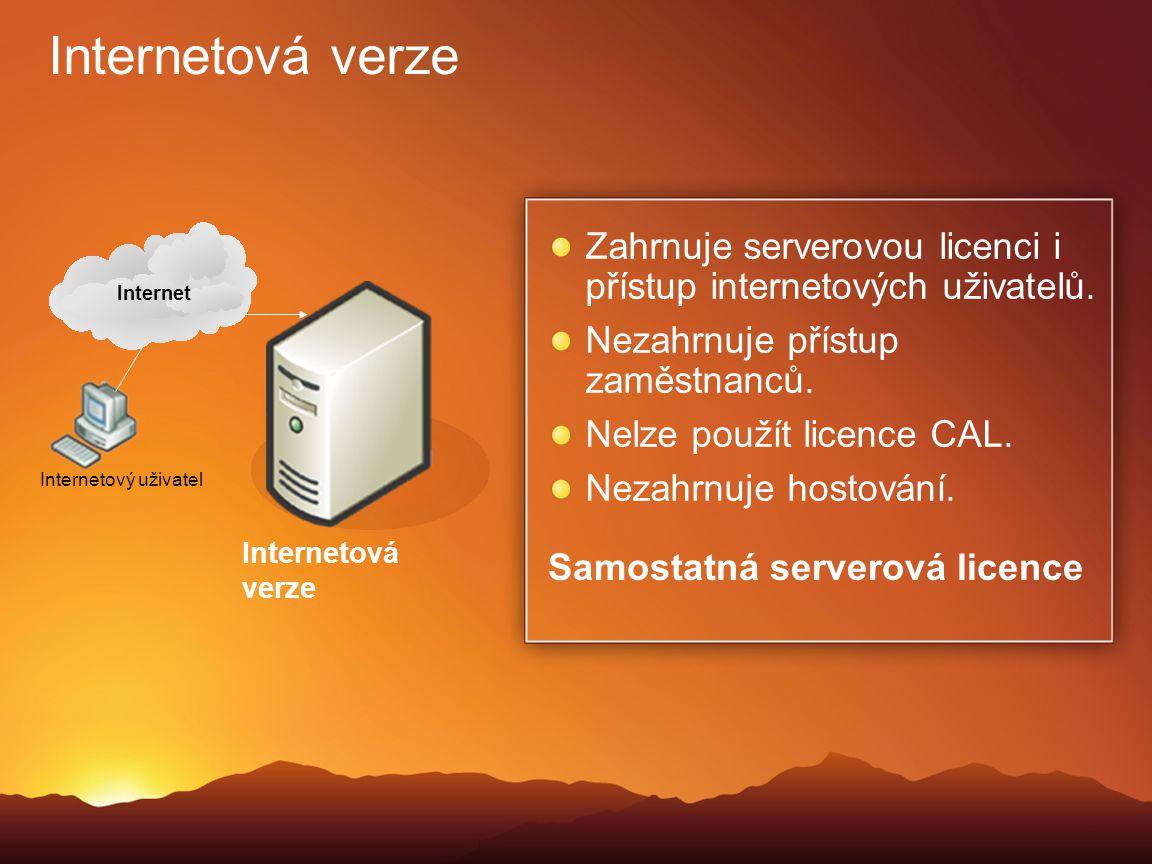 Internetová verze Zahrnuje serverovou licenci i přístup internetových uživatelů. Nezahrnuje přístup zaměstnanců. Nelze použít licence CAL. Nezahrnuje