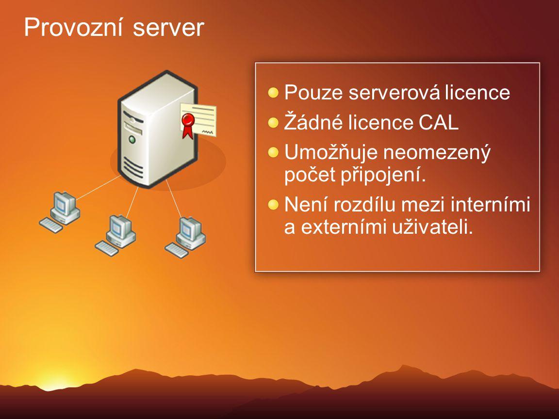 Provozní server Pouze serverová licence Žádné licence CAL Umožňuje neomezený počet připojení. Není rozdílu mezi interními a externími uživateli.