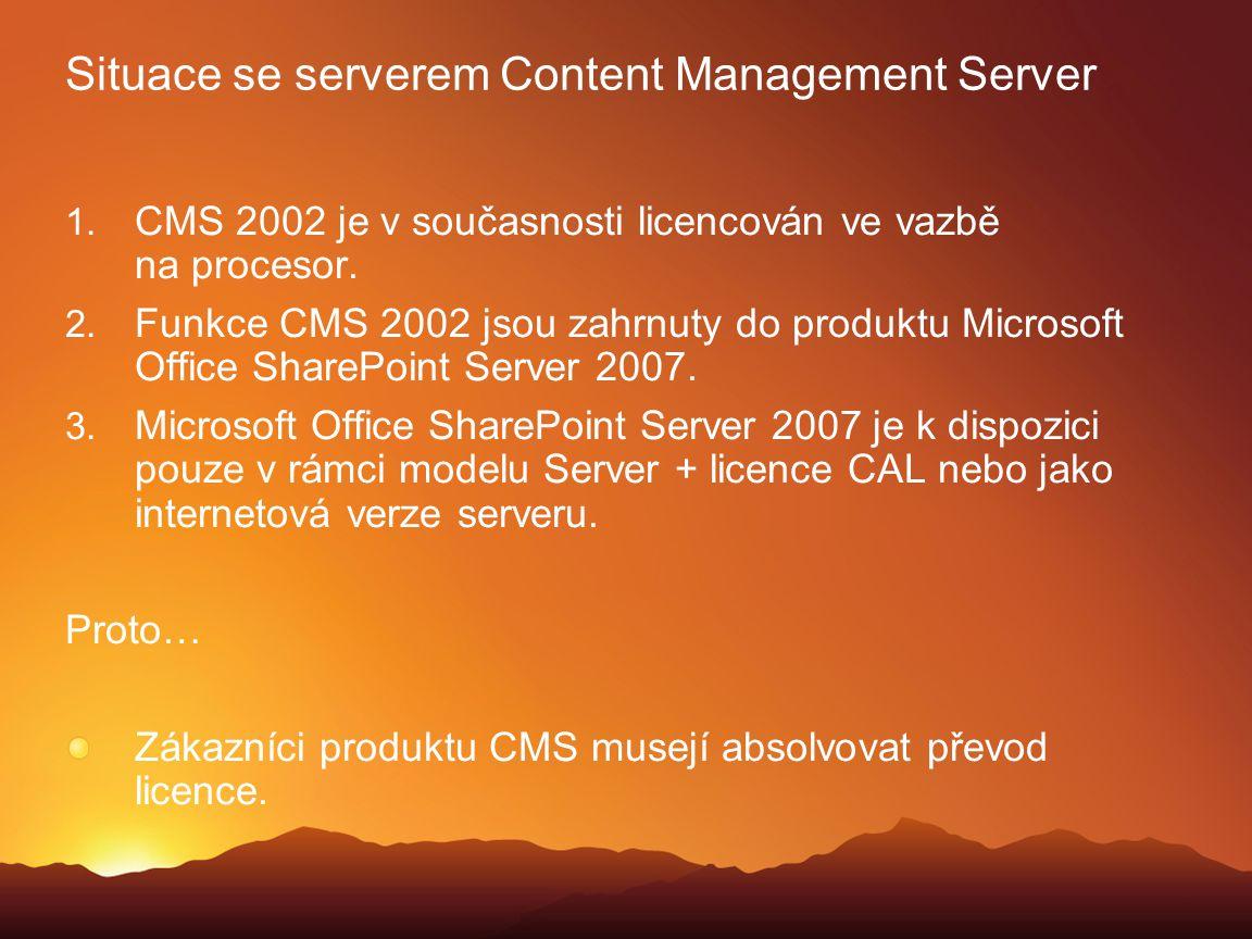 Situace se serverem Content Management Server  CMS 2002 je v současnosti licencován ve vazbě na procesor.  Funkce CMS 2002 jsou zahrnuty do produk