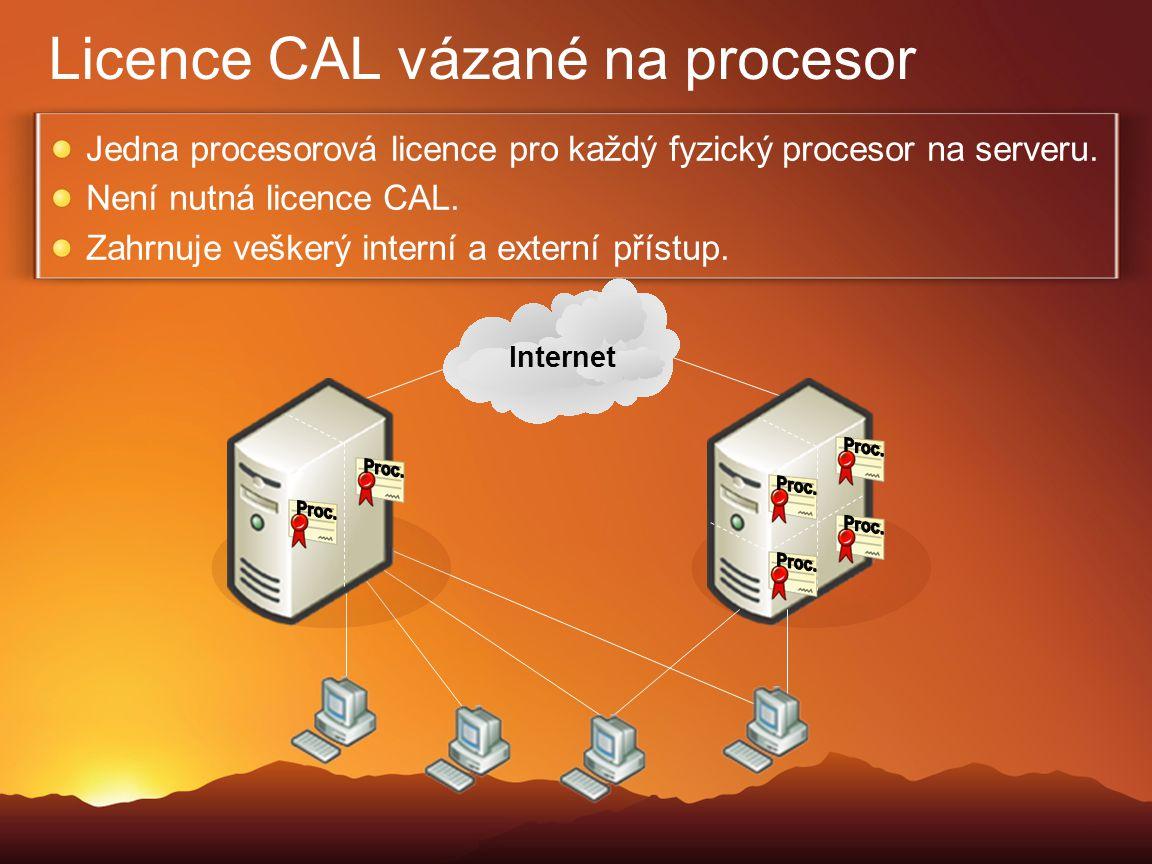 Licence CAL vázané na procesor Jedna procesorová licence pro každý fyzický procesor na serveru. Není nutná licence CAL. Zahrnuje veškerý interní a ext