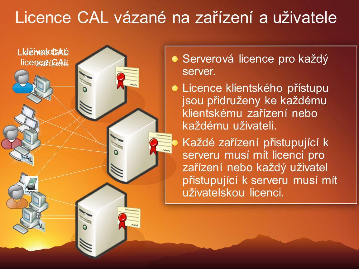 Licence CAL vázané na zařízení a uživatele Serverová licence pro každý server. Licence klientského přístupu jsou přidruženy ke každému klientskému zař
