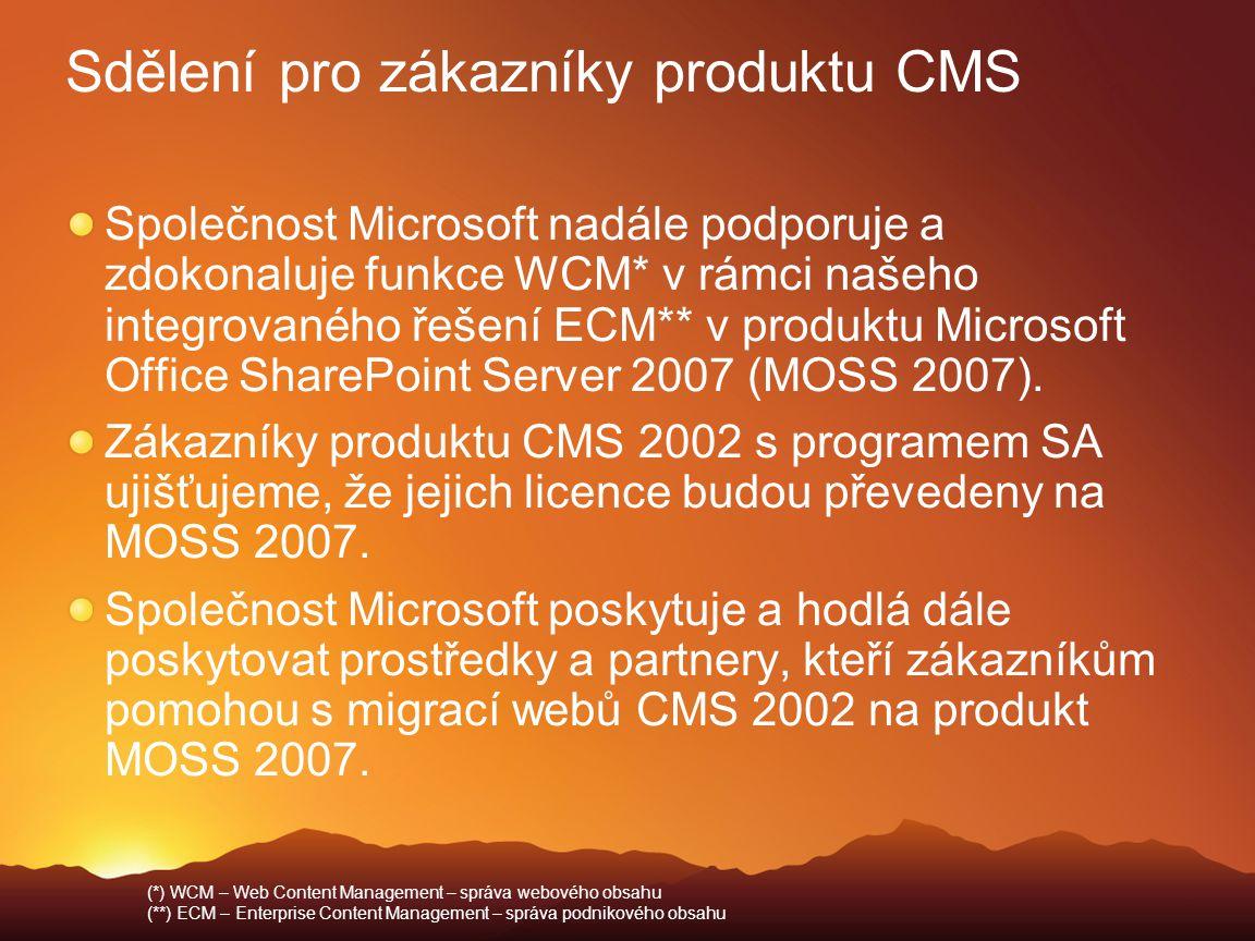 Sdělení pro zákazníky produktu CMS Společnost Microsoft nadále podporuje a zdokonaluje funkce WCM* v rámci našeho integrovaného řešení ECM** v produkt
