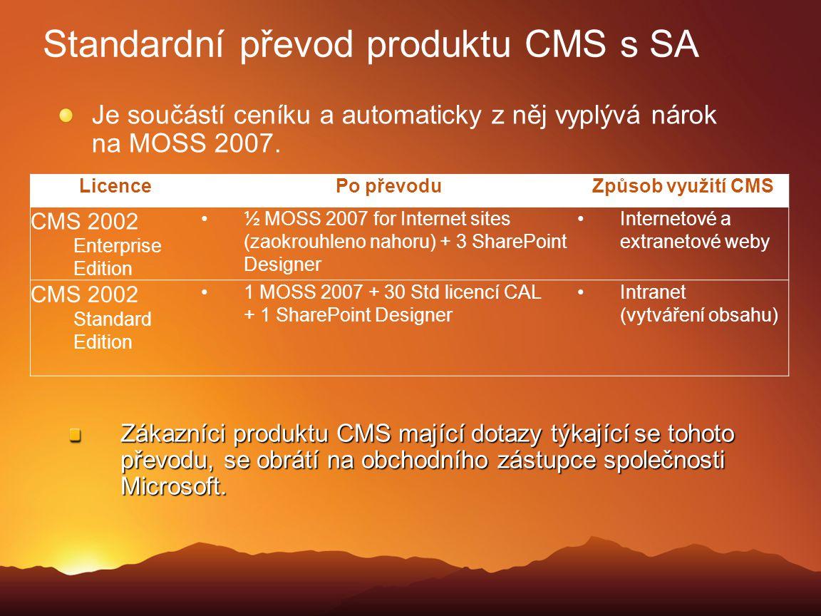 Standardní převod produktu CMS s SA Je součástí ceníku a automaticky z něj vyplývá nárok na MOSS 2007. Zákazníci produktu CMS mající dotazy týkající s