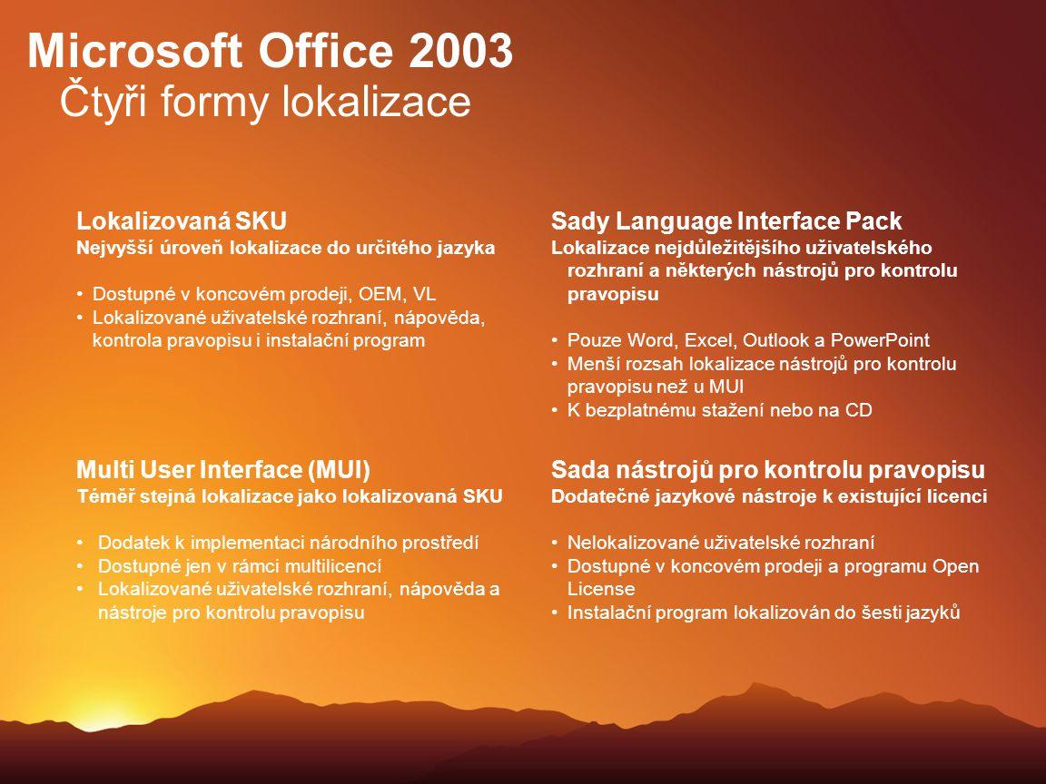 Microsoft Office 2003 Čtyři formy lokalizace Lokalizovaná SKU Nejvyšší úroveň lokalizace do určitého jazyka Dostupné v koncovém prodeji, OEM, VL Lokal