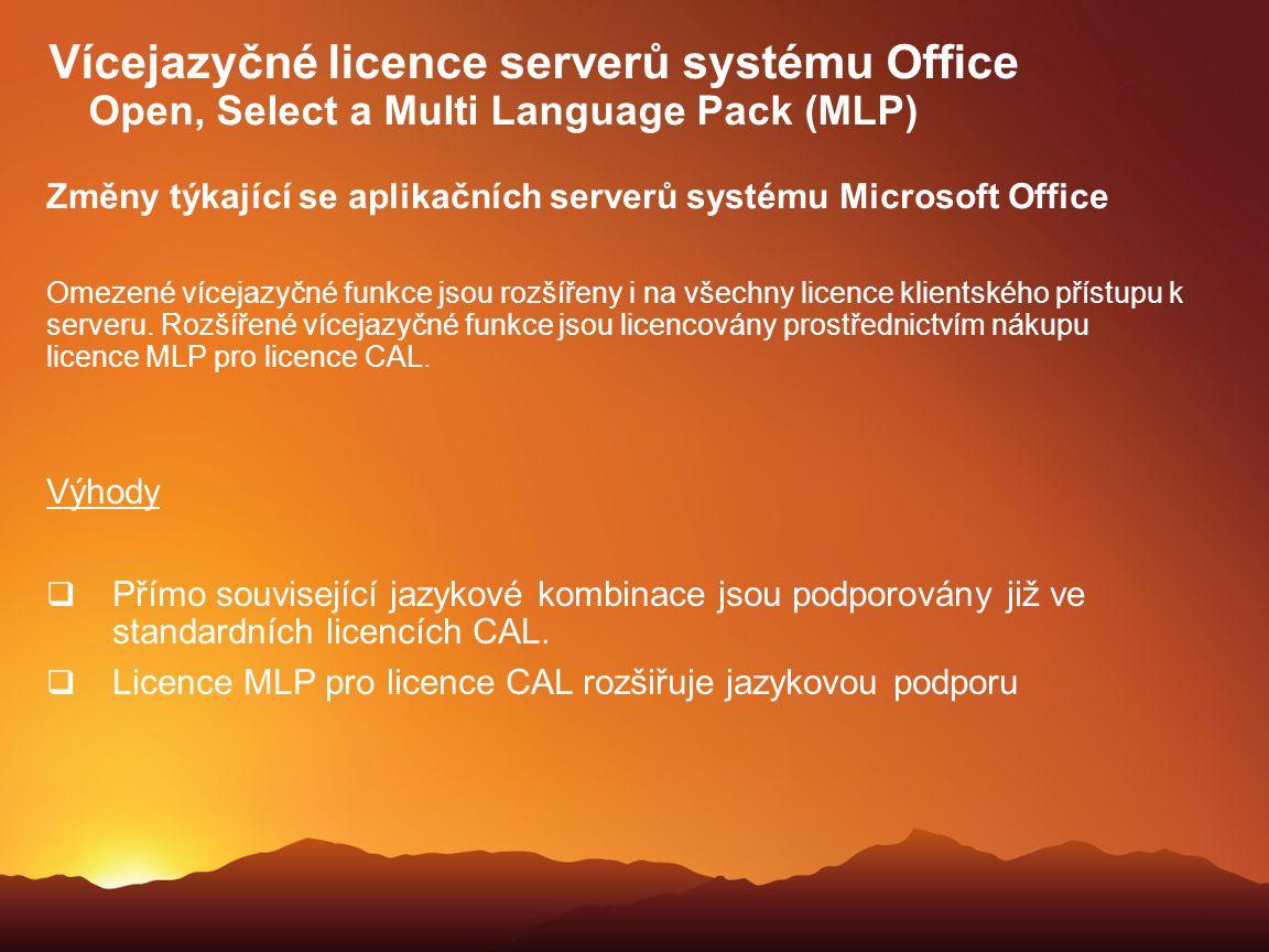 Změny týkající se aplikačních serverů systému Microsoft Office Omezené vícejazyčné funkce jsou rozšířeny i na všechny licence klientského přístupu k s