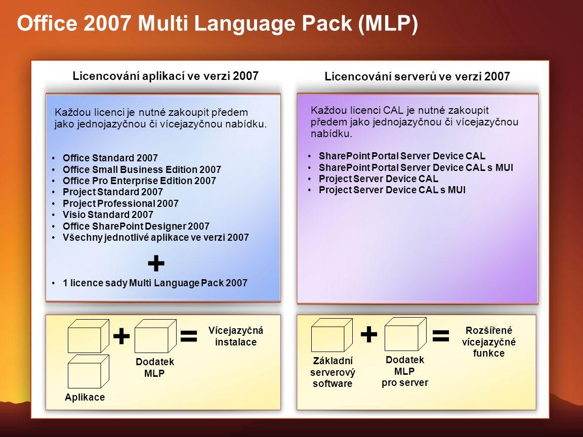 Každou licenci je nutné zakoupit předem jako jednojazyčnou či vícejazyčnou nabídku. Office 2007 Multi Language Pack (MLP) Licencování aplikací ve verz